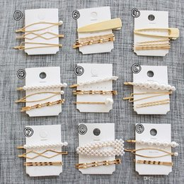 hair comb clips asian Australia - 5 Set Women Girls Vintage Pearl Beads Hair Clip Barrette Comb Bobby Pin Hairpin Hairband Clamps Party Hair Accessories