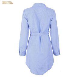 long sleeve belted blouse NZ - Embroidery Women Striped Long Blouse Blue And White Lapel Long Sleeve Self Belted Embroidered Shirt Women Clothes