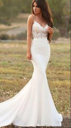 $enCountryForm.capitalKeyWord Australia - Sexy Mermaid Satin Wedding Dresses Spaghetti Straps 2019 Lace Applique Long Trumpet Garden Dress Country Style Bridal Gown Vestidos De Noiva