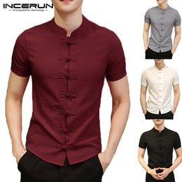 Chinese men s dress online shopping - Chinese Style Shirt Men Short Sleeve Solid Color Slim Fit Vintage Dress Shirt Men Fashion Cotton Linen Casual