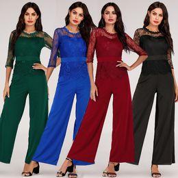 Wholesale wide leg work pants resale online – Summer Romper Women Jumpsuit Lace Women Rompers Summer Elegant Work Wear Overalls For Women Wide Leg Playsuit Tracksuit Long Pant