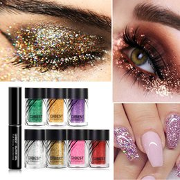 Discount glitter glue set - Brand New 20 Color Glitter +Glue Set Waterproof Shiny Eyeshadow Colorful Glitter For Eyelid Matte Shadows Korean Cosmeti