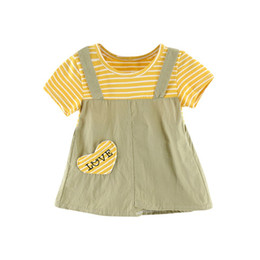 $enCountryForm.capitalKeyWord UK - Children Cute Print Fake Two Piece Short Sleeved Sweet Striped Casual Dress Summer 0-24M Newborn Baby Girls Dresses