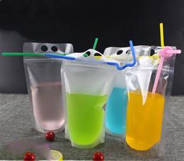 Опт Fedex / DHL Drink мешочки Сумки матового Zipper Стоячего Пластиковые выпивая мешок с соломой с держателем Многократно закрывающимся жаропрочной 17oz