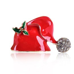 $enCountryForm.capitalKeyWord Australia - Red hat brooch red Christmas hat with diamonds full of drip oil three-dimensional hats decorated with pins