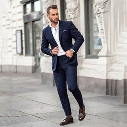 ClassiC suit designs for men online shopping - Dark Blue Business Men Tuxedos for Groom Wedding Suits Peak Design Groomsmen Outfits Man Attires Piece Casual Terno Masculino Costume Homme