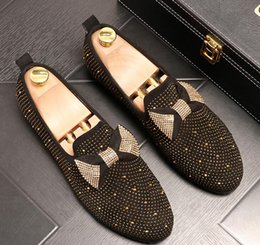 $enCountryForm.capitalKeyWord Australia - Men Summer Bowtie Diamonds loafers Flats Party Wedding Prom shoes Breathable Slip-On Male Homecoming shoes high-quality