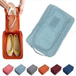 Portable Folding Shoes Australia - 6 Colors Nylon Travel Shoes Box Organizer Laundry Shoes Sorting Pouch Portable Organizer Storage Box Beach Travel