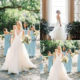 $enCountryForm.capitalKeyWord Australia - Modest Ivory Deep V Neck beach wedding dresses Simple Floor Length Chiffon Sexy Backless Bohemian Country Wedding Gowns Cheap Boho bridal