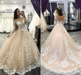 $enCountryForm.capitalKeyWord Australia - Romantic Champagne Wedding Dresses Long Sleeve Dubai Arabic Wedding Gowns Lace Appliques Puffy Tulle Bridal Dresses For Women 2019 Plus Size