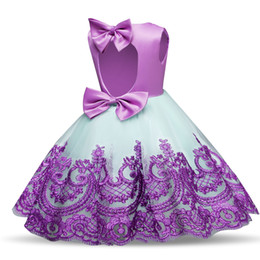 Formal Military Ball Gowns Australia - Retail custom girls dress lace embroidered princess dress bowknot skirts ball gown flower girl dresses kids boutique occasion clothing