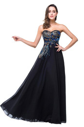 Evening Dress Red Peacock Australia - Real Pictures 2019 Designer Black Evening Dresses Sweetheart Peacock Embroidery Formal Prom Party Gowns Vestidos CPS342