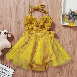 $enCountryForm.capitalKeyWord Australia - Floral Pig Infant Baby Sling Rompers Summer Solid Color Petal Gauze Romper Baby Infant Girl Designer Clothes Baby Girls Romper 0-18M