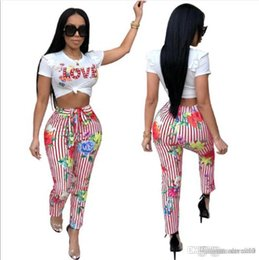 $enCountryForm.capitalKeyWord Australia - Two Piece Set Women Love Print Casual Tracksuit short Sleeve Tops And Striped Pants Matching Suits Sweatsuit Summer Outfits