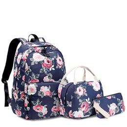 $enCountryForm.capitalKeyWord Australia - 3 Pieces set Girls School bags Child Backpack For Girl Beautiful Flowers Printing Students Princess Kids Backpack Girls Bookbags