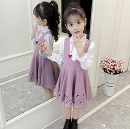 dress girl suit long sleeve 2019 - 2019 Spring Autumn Baby Kids Girl Clothes 2 Pcs Suit Long Sleeve White Blouse+Straps Dress Children Clothing Sets cheap