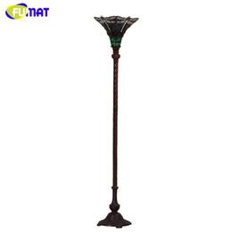 vintage standing lamps UK - FUMAT European Style Tiffany Dragonfly Glass shade Floor Lights Vintage Creaitve Light For Living Room Bedside Stand Floor Lamps