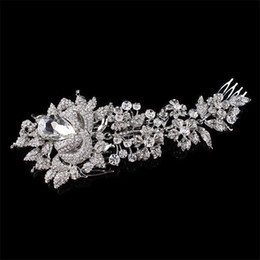 flower hair pin comb Canada - Elegant Wedding Hair Jewelry Accessories for Women Charm Crystal Flower Bridal Hair Comb Head Pieces Hair Pins Headpieces
