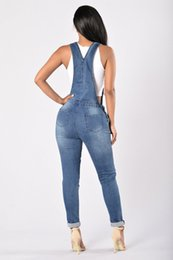 women washed jumpsuit UK - QMGOOD 2018 Denim Women's Overalls High Waist Ripped Jeans Woman Jumpsuits Stretch Denim Pants Female Torn Jumper Trousers 3XL