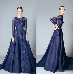 $enCountryForm.capitalKeyWord Australia - 2018 Ellie Saab Evening Dresses Naby Blue Ruffles Beaded Appliques Lace Prom Dress Long Sleeves Dubai Arabic Evening Gowns Vestidos