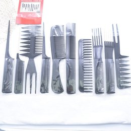 $enCountryForm.capitalKeyWord Australia - Hair Tools Plastic Brush Ten Sets Curly Hair Black Combs Dense Teeth Multi-function Transparent Buckle Bag