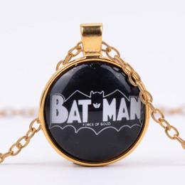 Batman Pendants Australia - 2019 New Superhero Batman LOGO Time Gemstone Hanging Necklace Alloy Retro Glass Dome Pendant Necklace Wholesale