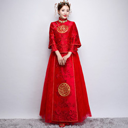 Ethnic Chinese Costume UK - New Chinese style vintage bride vestido Tang suit costume Chinese ancient style traditional ethnic clothing red married cheongsam