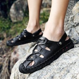 $enCountryForm.capitalKeyWord Australia - Hot Sale-2019 Summer Style Genuine Leather Beach Casual Male Sandals Breathable For Men Walking Brand High Quality Comfortable Shoes
