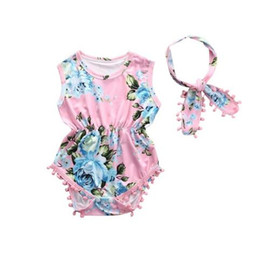 tassels girls UK - new 2019 2Pcs Set Newborn Infant Baby Girl Floral Romper Sleeveless Tassel Jumpsuit + Headband Sunsuit Outfits Clothes
