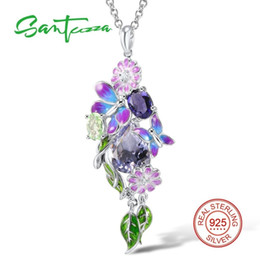 necklaces pendants Australia - Santuzza Silver Pendant For Women Genuine 925 Sterling Silver Purple Butterfly Fit For Necklace Fashion Jewelry Handmade Enamel MX190730