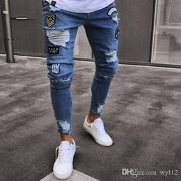Wholesale jeans europe for sale – denim New jeans from Europe and America are popular cross border jeans for men with broken knees zipper zipper and explosive jeans