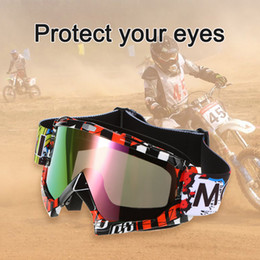 ski glasses cycling goggles NZ - Freeshipping Fashion 4 Colors Motorcycle Racing Riding Cycling Goggles Outdoor Ski Wind-proof Antifog Glass Color Lens