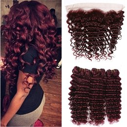 $enCountryForm.capitalKeyWord Australia - Wine Red Brazilian Human Hair Deep Wave Weave Bundles with Frontal #99J Burgundy Deep Wave Human Hair Lace Frontal Closure 13x4 with Bundles
