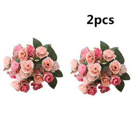 cloth flowers bouquet NZ - Artifical Rose Flower 2 Bouquets Wedding Bridal Party Home Decoration New Silk Cloth Bouquets Fake Silk Flowers