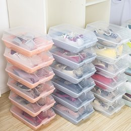 stackable shoe boxes NZ - Spot FCL Clamshell Shoe Box Plastic Transparent Shoe Finishing Box Stackable Large Storage