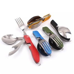 Outdoor Camping Stainless Steel Multi Function Spoon Fork Tableware Dishware Picnic Cutting Knife Bottle Opener Carabiner Campcookingsupplies