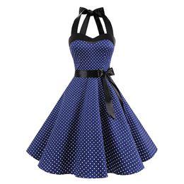 $enCountryForm.capitalKeyWord NZ - Cross-border Express Amazon European and American women's wear wave-point bra tie dress summer retro neck pendant skirt