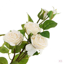 white rose stores Australia - Bunch of 5 White Rose Artificial Fake Flowers for Cafe Store Shop Home Decor