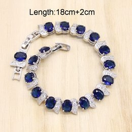 ruby jade jewelry UK - 925 Silver Wedding Jewelry Sets for Women Royal Blue Zirconia Bracelet Earrings Necklace Pendant Ring Birthday Gift