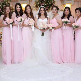 $enCountryForm.capitalKeyWord Australia - Baby Pink Chiffon Long Plus Size Bridesmaid Dresses 2019 Short Sleeves Ruched Lace Maid of Honor Wedding Guest Dresses BM0613
