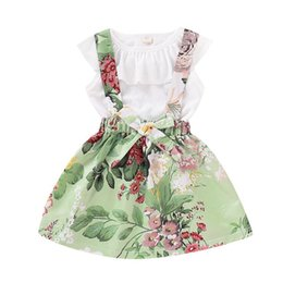 Girls Butterfly Shirt UK - Baby girls suspender Skirt outfits romper tops+2019 new Summer Kids Floral Ruffled T Shirt+ 2pcs set kids Clothing Sets BY1117