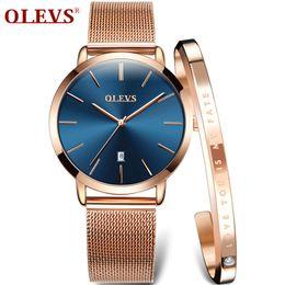 Lady Woman Wrist Watch Australia - Olevs Rose Gold Stainless Steel Bracelet Quartz Watch Ultra Thin Ladies Wrist Watches For Women Clock Q190430