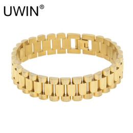 $enCountryForm.capitalKeyWord NZ - Uwin Men Stainless Steel Hip Hop Style Bracelet 24k Gold Silver Watch Band Bracelet Link Fashion Punk Jewelry 15mm 21mm Y19051101