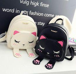 Character Backpacks Australia - Cute Cat Backpack School Women Pu Leather Backpacks for Teenage Girls Funny Cats Ears Canvas Shoulder Bags Female Mochila XA531B