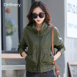hid design 2019 - high quality leather jacket women Bust 102-118CM short design Baseball uniform Hide Hoodies vintage casual leather jacke