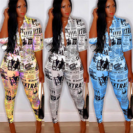 vintage tracksuits NZ - Newspaper Print Women Outfits 3 4 Sleeve T Shirt Tops + Pencil Pants Leggings 2 Piece Set Vintage Fashion Blouse Tracksuit Clothes 2020