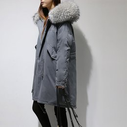 Long Padding Jacket Australia - 2019 NEW parkas mujer 2018 Winter Loose Women's Real Raccoon Fur Collar Hooded Down Parkas Jacket Causal Long Padded Jacket Coat Female Coat