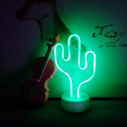 $enCountryForm.capitalKeyWord Australia - 12 Colors New Cute Battery Powered Neon Sign Table LED Night Light Cactus Coconut Tree Christmas Tree 3D Neon Table Desk Lamp for Festival