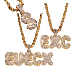 $enCountryForm.capitalKeyWord Australia - New Luxury Designer Gold Bling Diamond Bubble Letter Custom Name Pendant Necklace Mens Iced Out Cubic Zirconia Solid Initial Pendant Jewelry