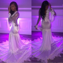 Floor length black silk robe online shopping - African Black Girls Mermaid Party Prom Dresses Cheap Deep V Neck Lace Beads Sequined Long Sleeves Evening Gowns Formal Dress robe BC1415